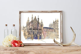 Westminster Abbey Watercolor Home Print