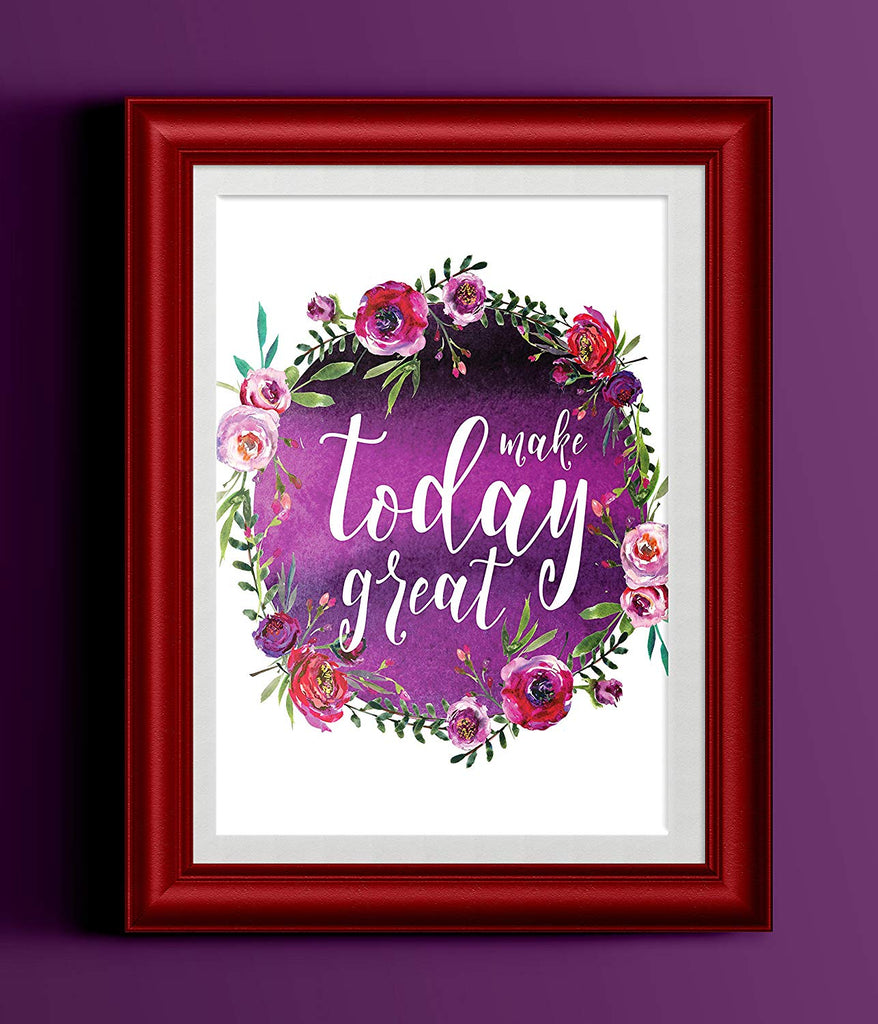 Make Today Great Purple Watercolor Floral Motivational Inspirational Typography Art Print
