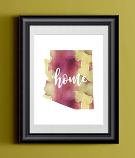 Arizona Home Watercolor Print | State Home Poster | Wall Decor