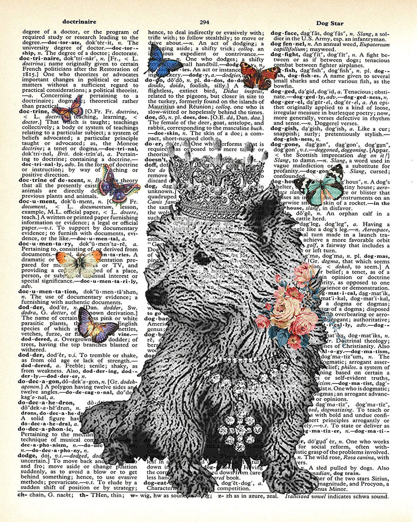 Royal Dog with Butterflies Vintage Dictionary Style Art Print | Unframed | 8.5 x 11