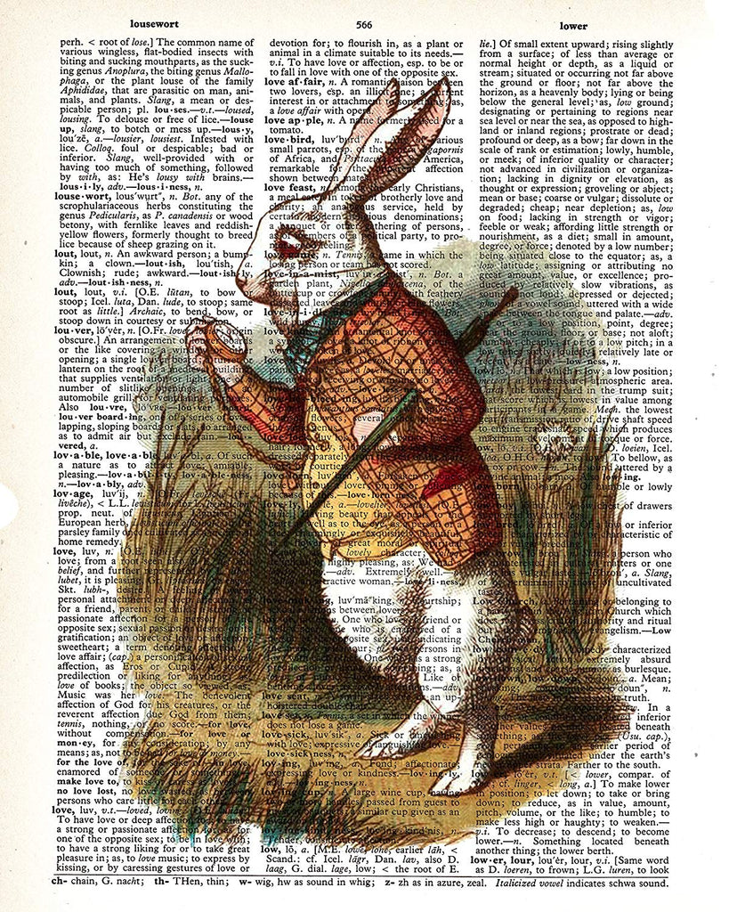 March Hare Alice in Wonderland Vintage Dictionary Style Art Print | Unframed | 8.5 x 11