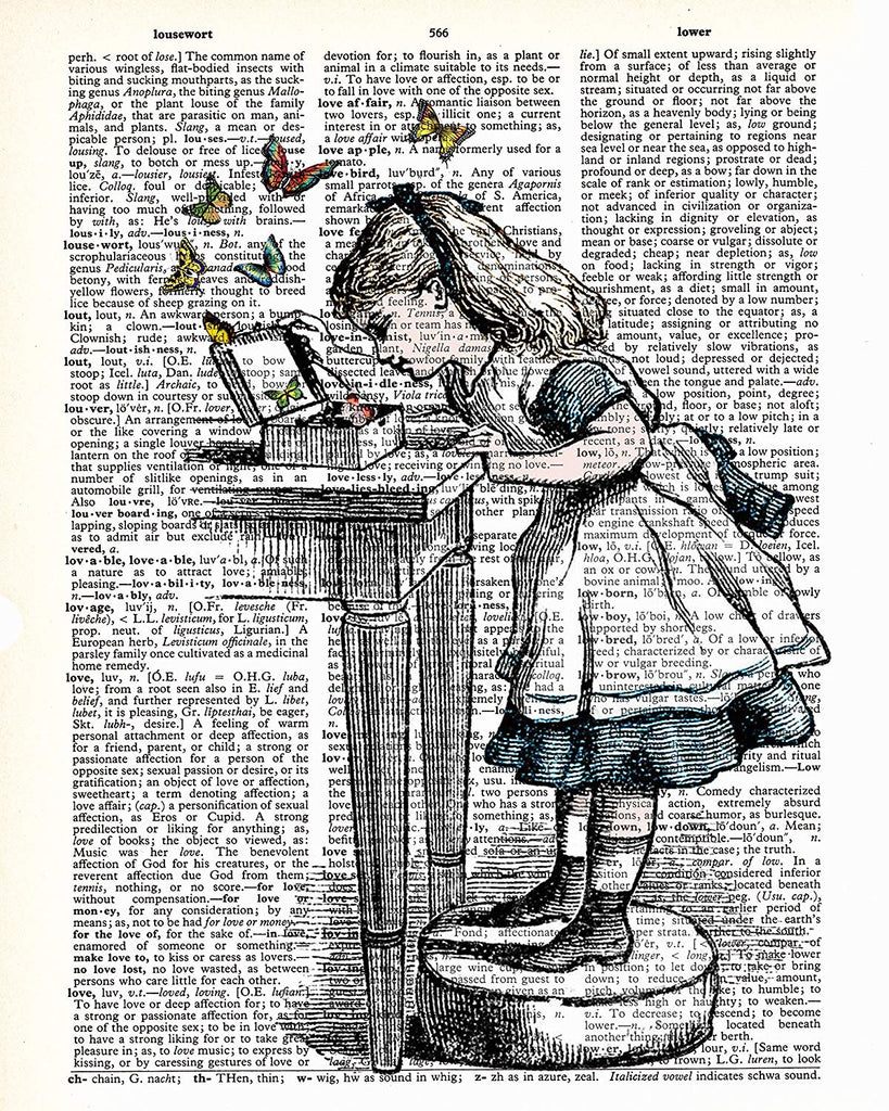 Alice in Wonderland Butterflies Vintage Dictionary Style Art Print | Unframed | 8.5 x 11