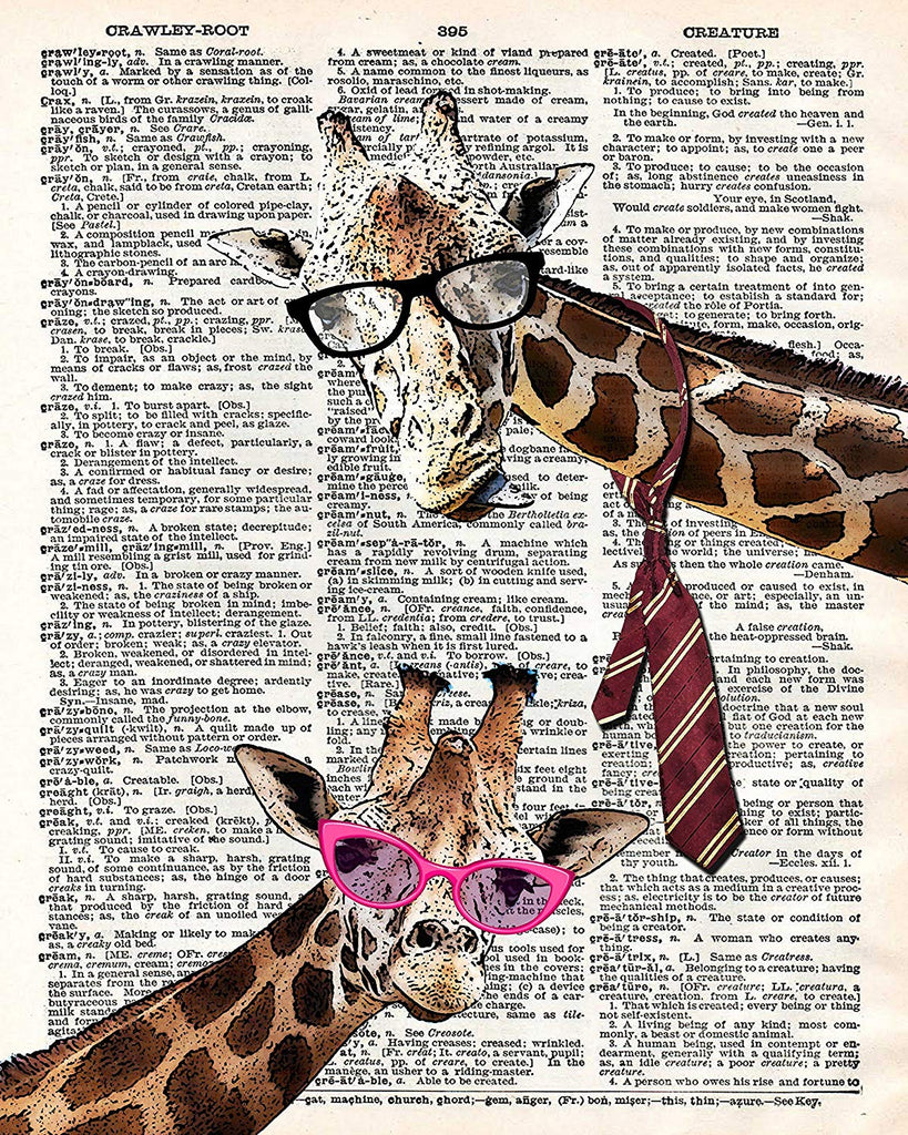 Hipster Giraffes in Glasses Vintage Dictionary Style Art Print | Unframed | 8.5 x 11
