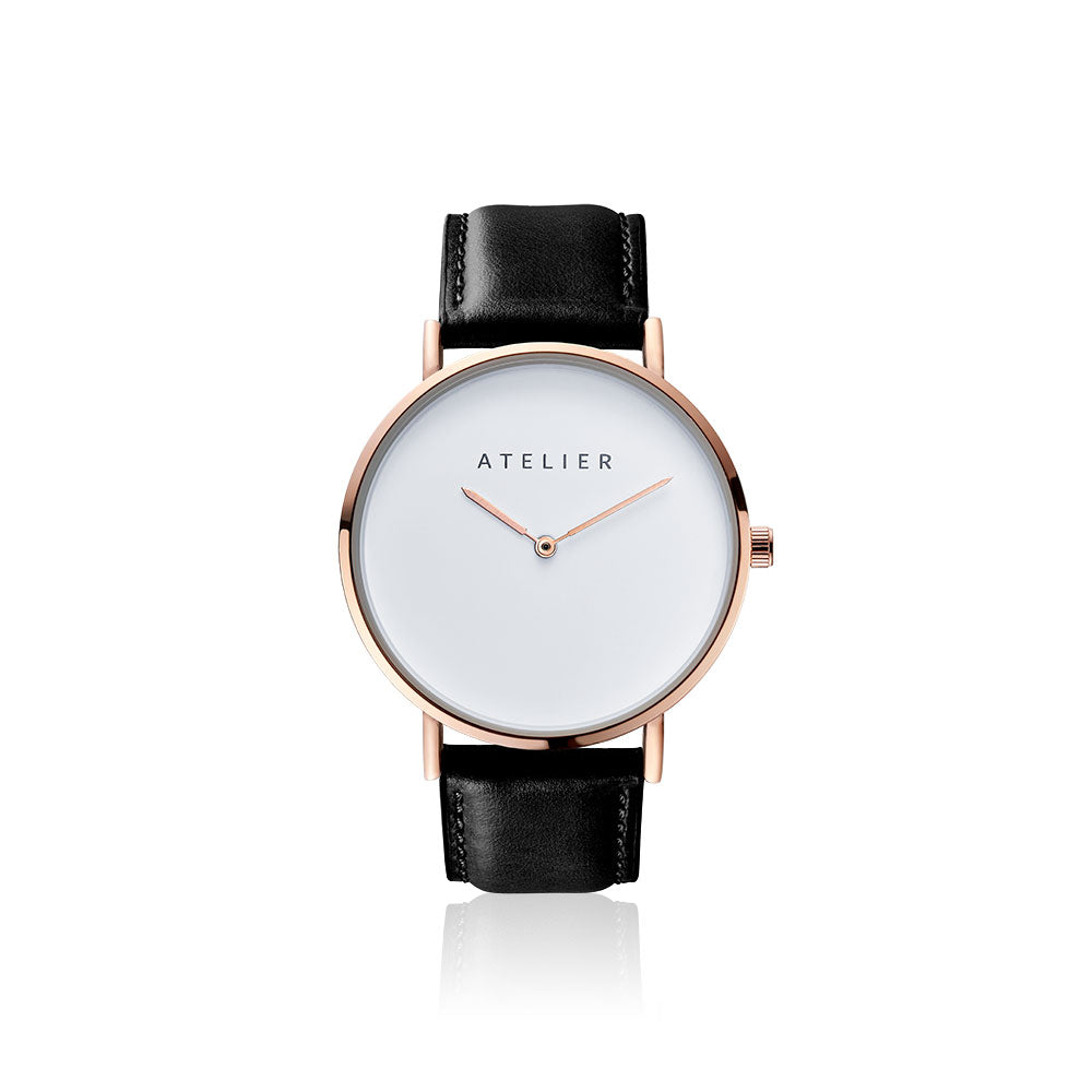 Canvas watch, 40 mm rose gold case and black leather strap