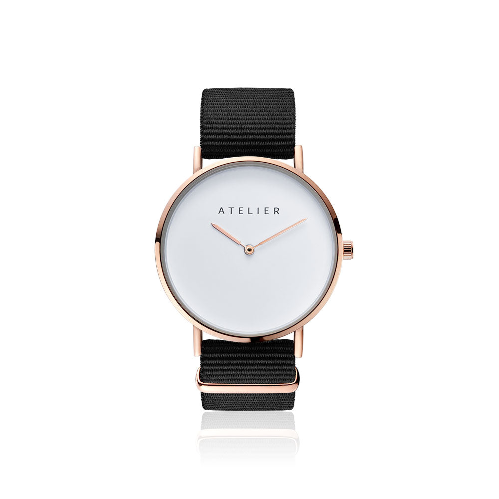 Canvas watch, 40 mm rose gold case and black nylon strap