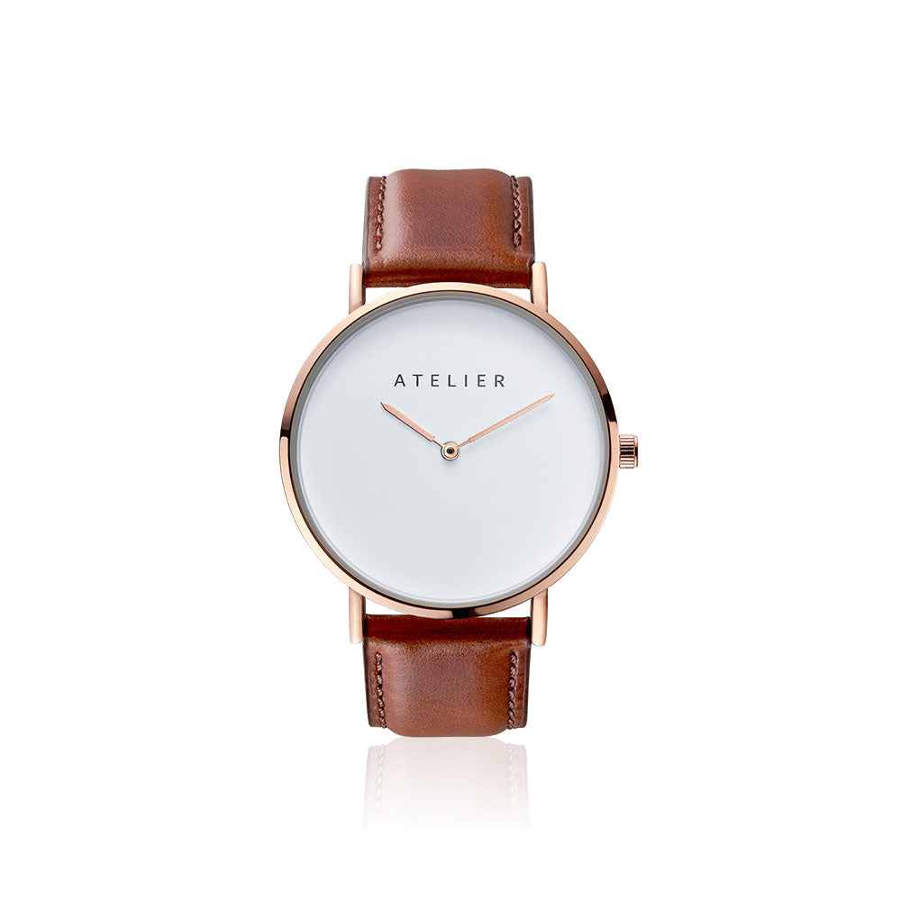 Canvas watch, 40 mm rose gold case and brown leather strap