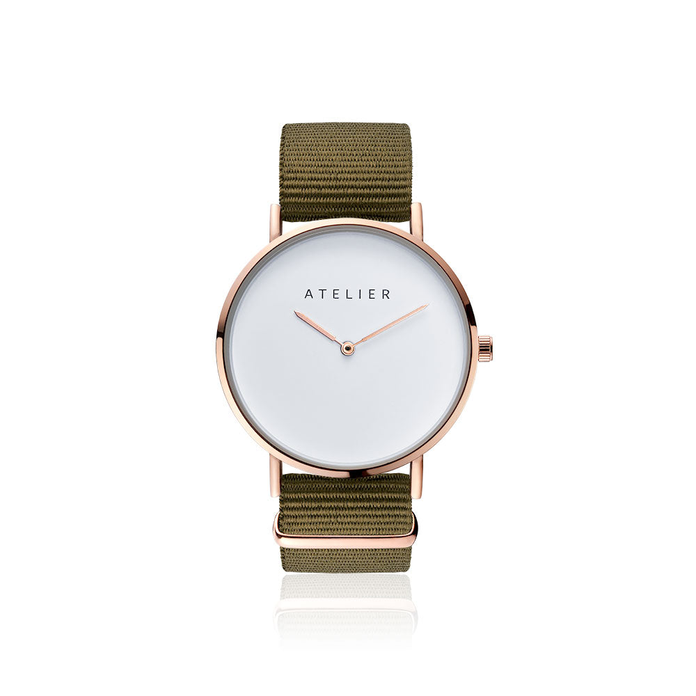 Canvas watch, 40 mm rose gold case and khaki nylon strap
