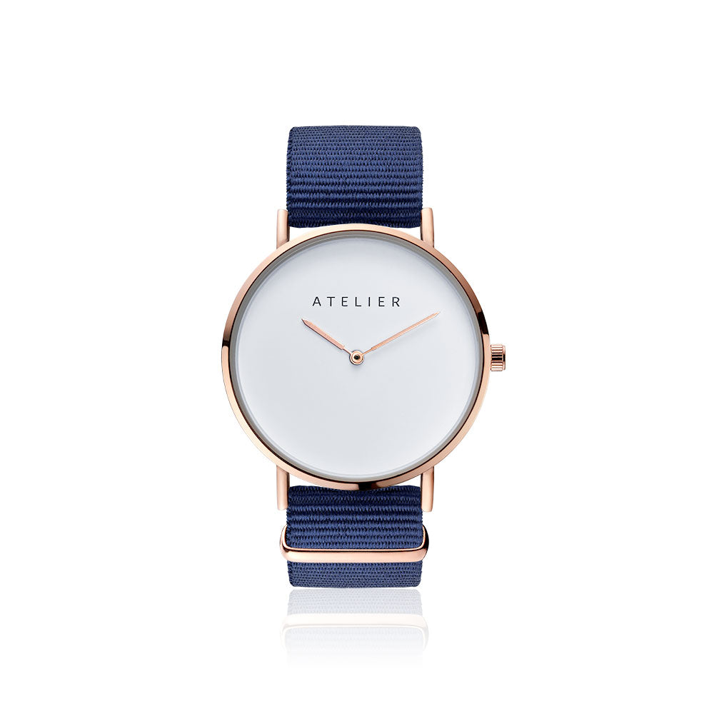 Canvas watch, 40 mm rose gold case and navy nylon strap