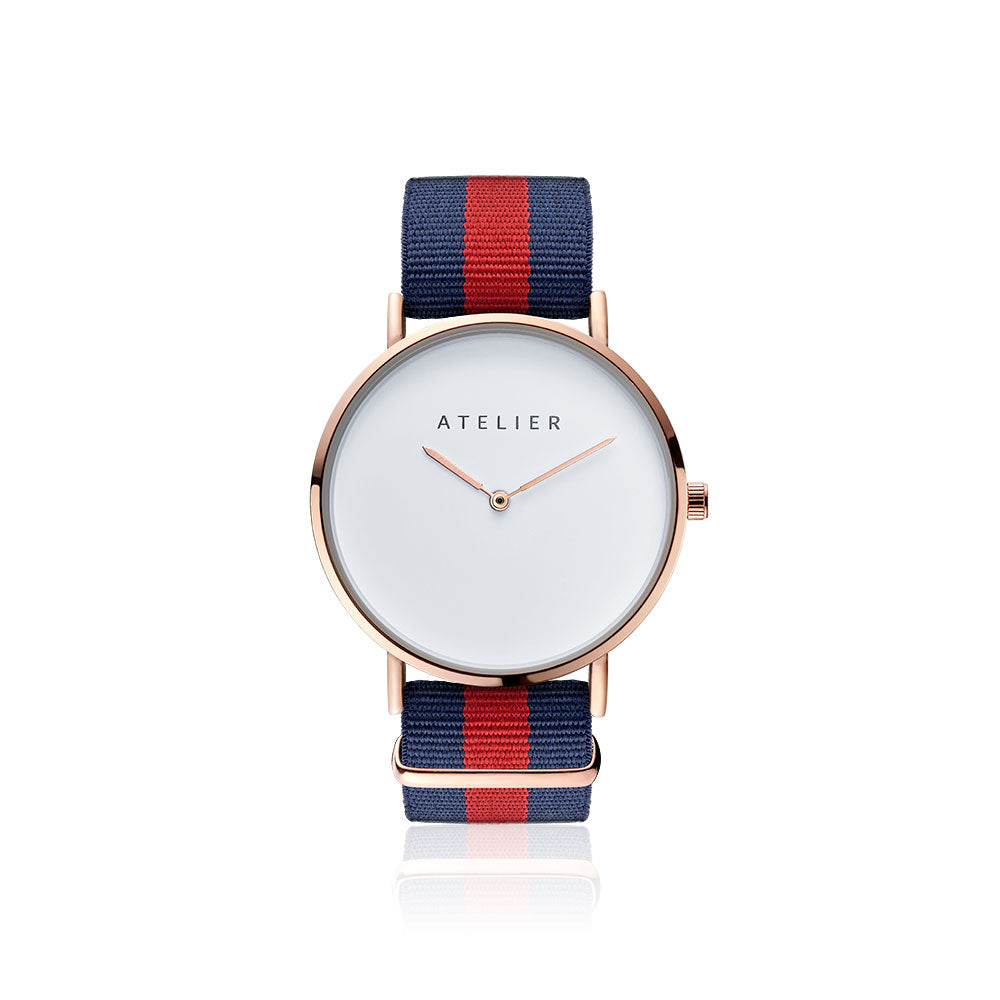 Canvas watch, 40 mm rose gold case and navy & red nylon strap
