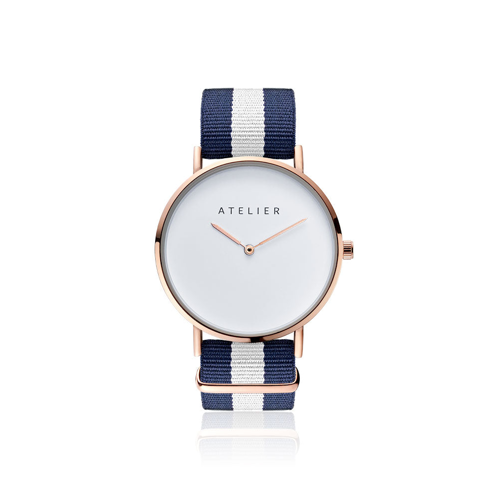 Canvas watch, 40 mm rose gold case and navy & white nylon strap