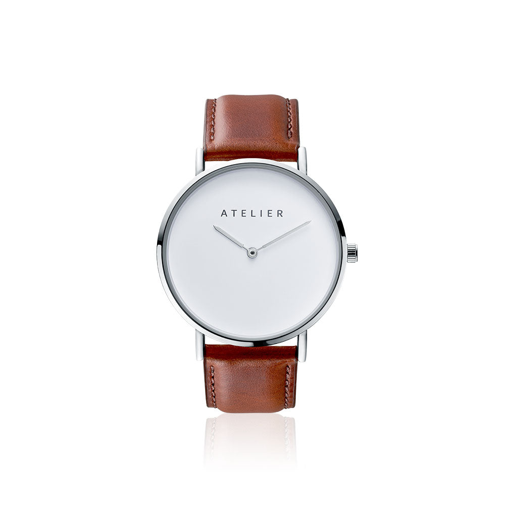 Canvas watch, 40 mm silver case and brown leather strap