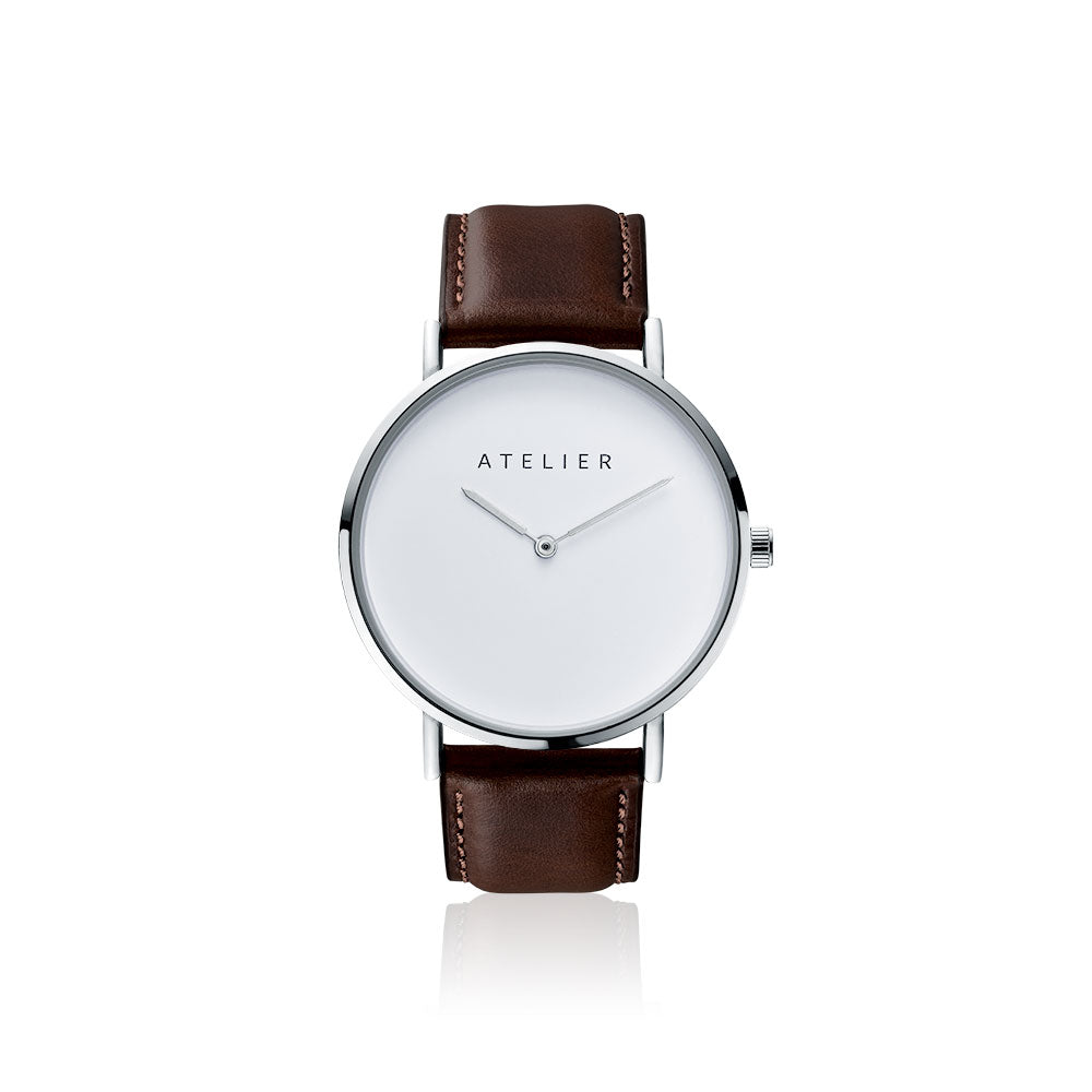 Canvas watch, 40 mm silver case and dark brown leather strap
