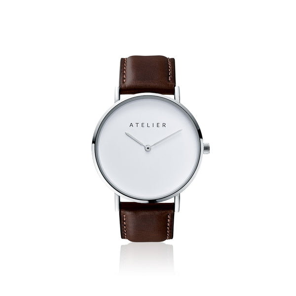 Canvas watch, 40 mm silver case and leather strap