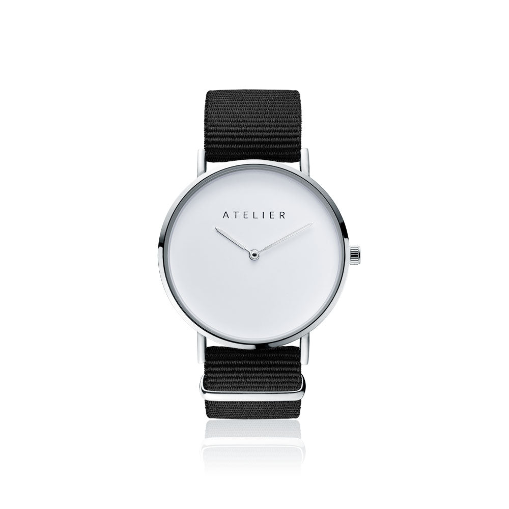 Canvas watch, 40 mm silver case and black nylon strap