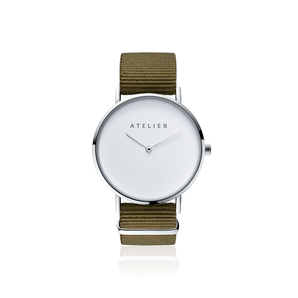 Canvas watch, 40 mm silver case and khaki nylon strap