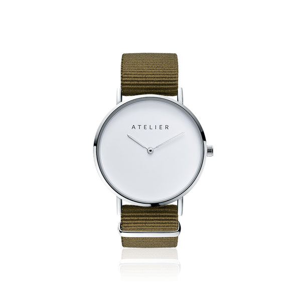 Canvas watch, 40 mm silver case and nylon strap
