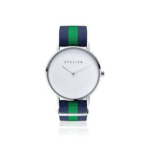 Canvas watch, 40 mm silver case and navy & green nylon strap