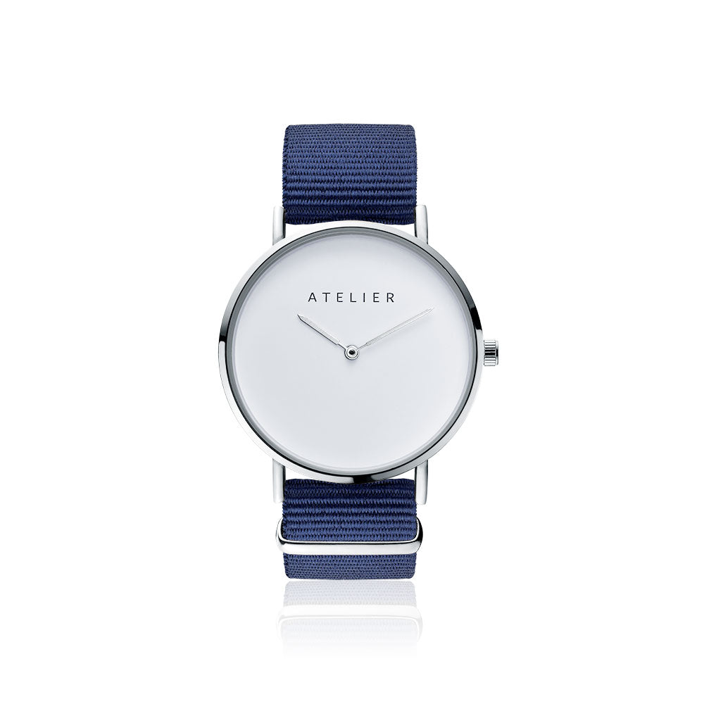 Canvas watch, 40 mm silver case and navy nylon strap