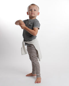 the stripe legging - mushroom/cream