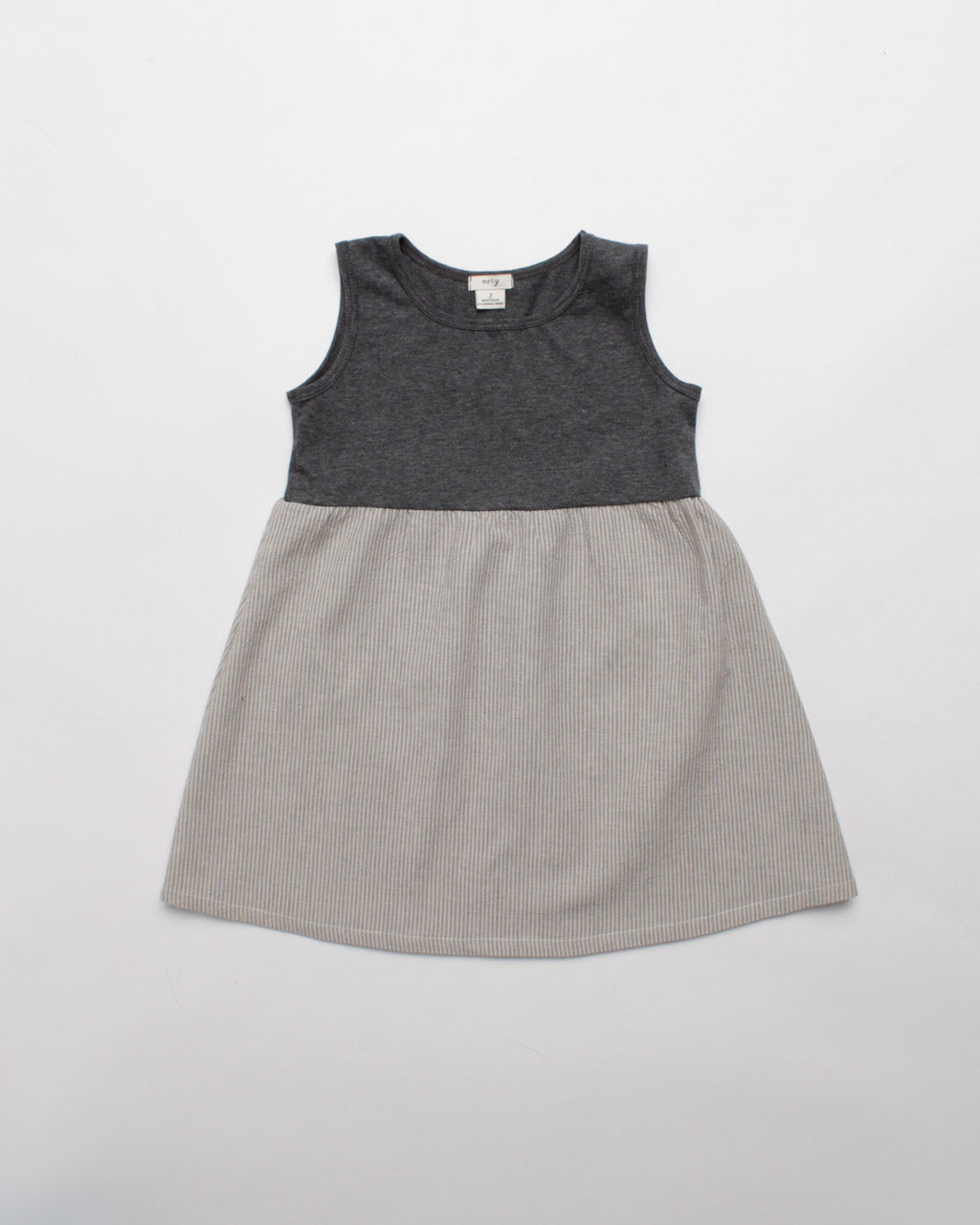 the stripe dress - charcoal heather