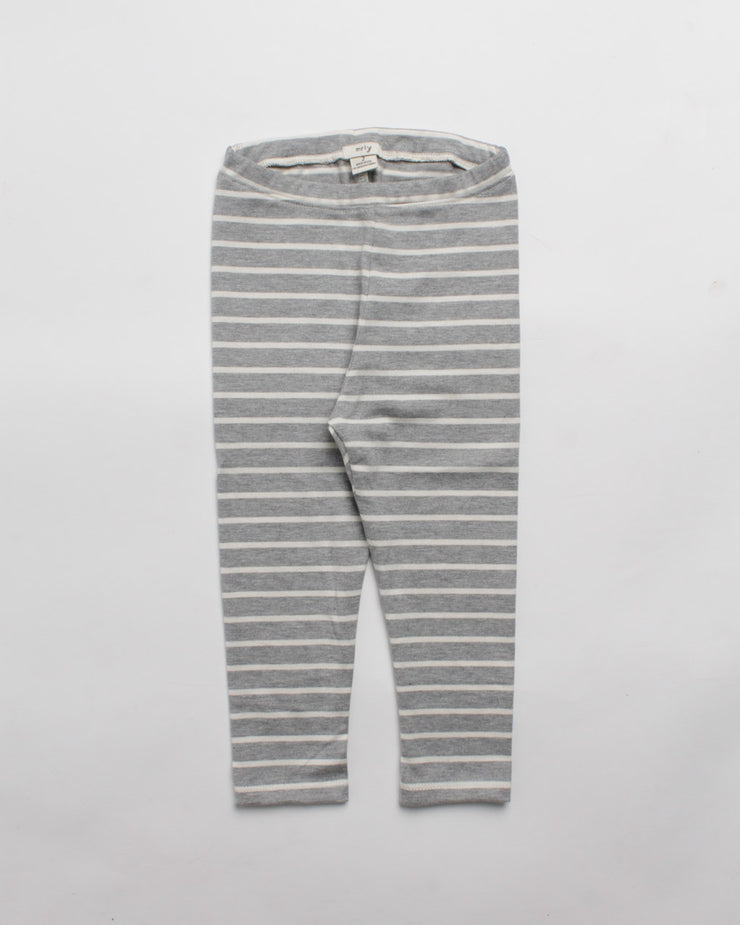 the stripe legging - grey heather/cream