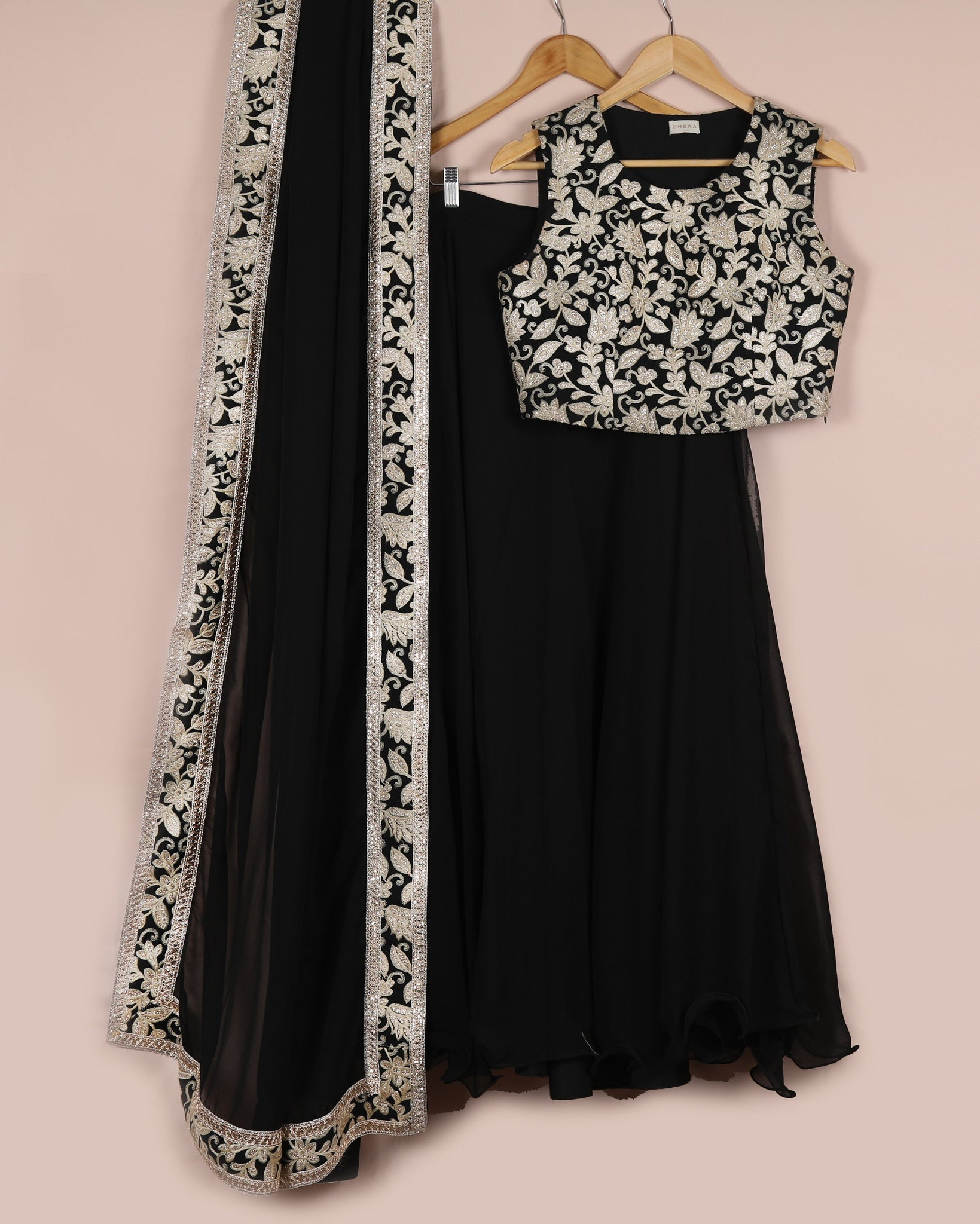 Black and Gold Lehenga Set