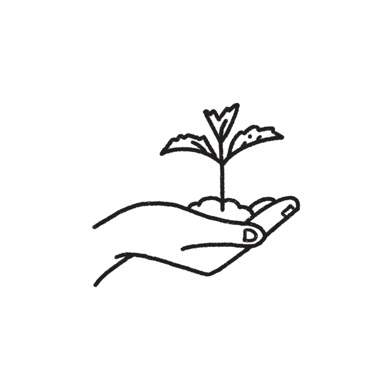 We give back - hand and seedling illustration
