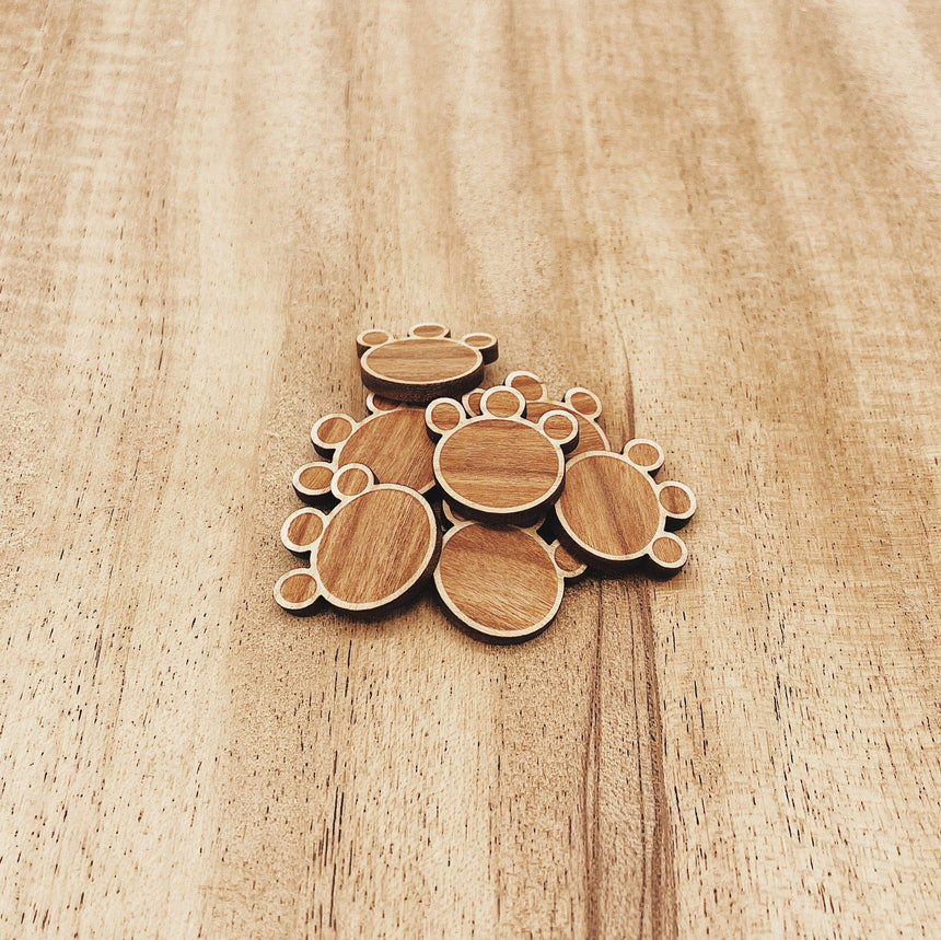 Isabell Dog Paw Wood Pin - Made by a kid