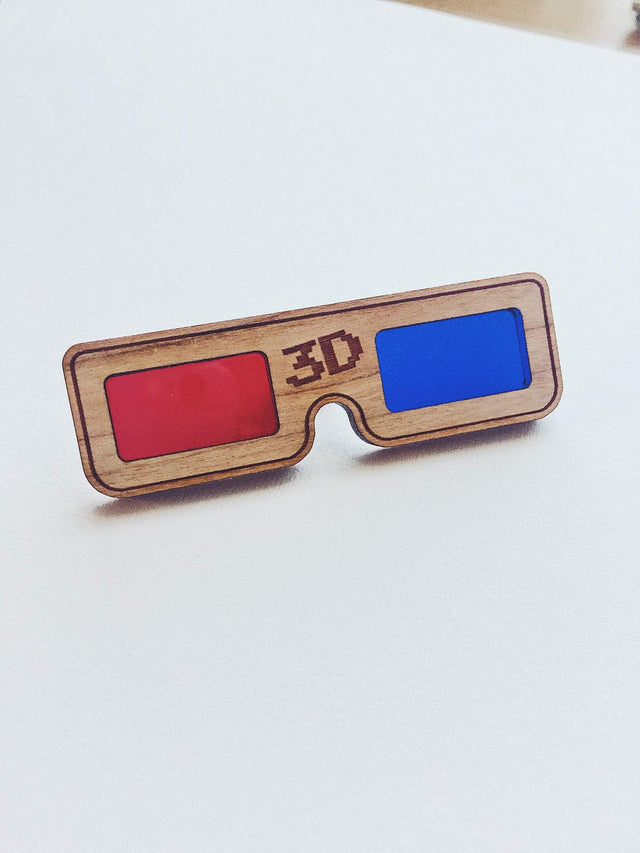 Jake Mize 3D Glasses Wooden Pin