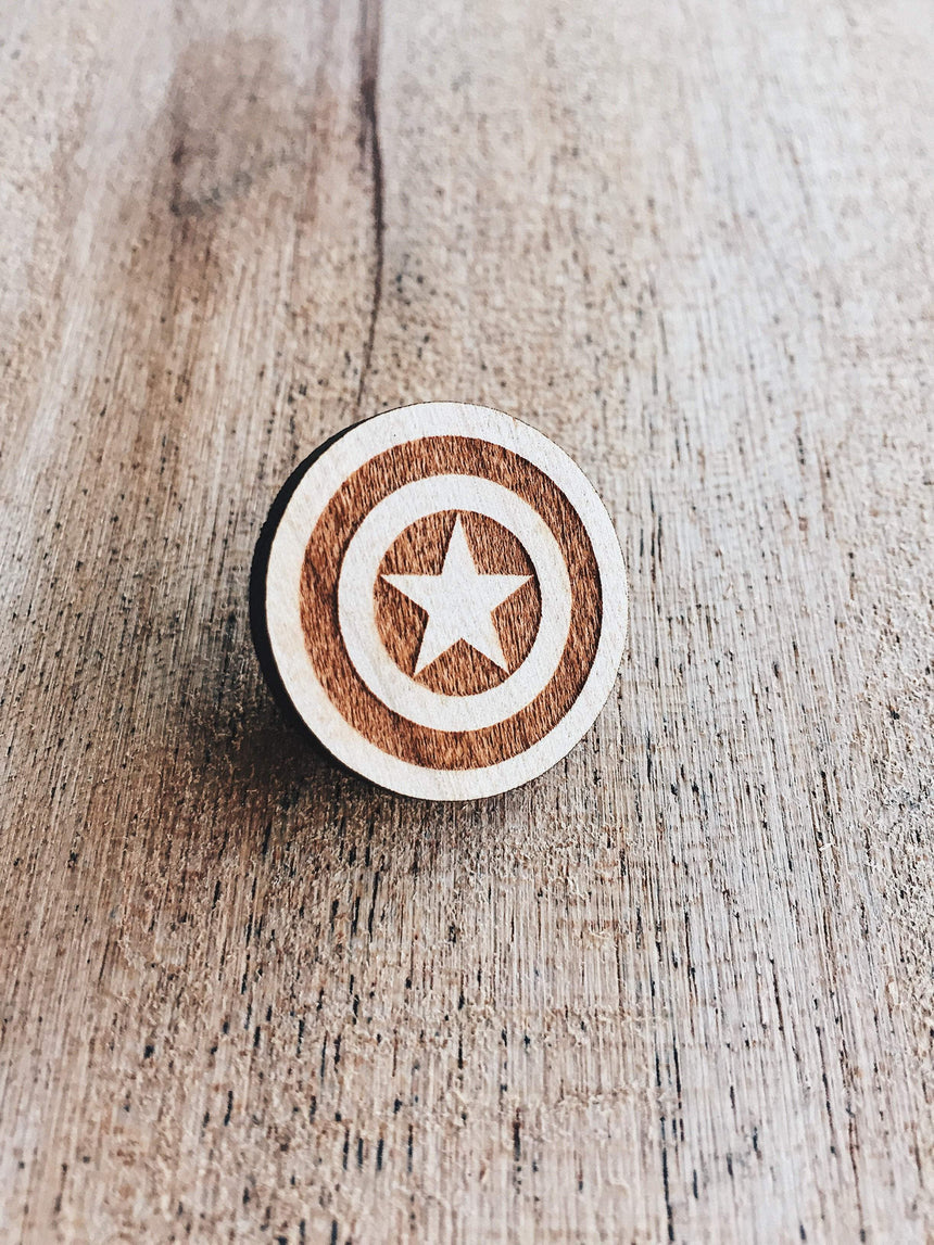 Jake Mize Captain America Shield Wooden Pin