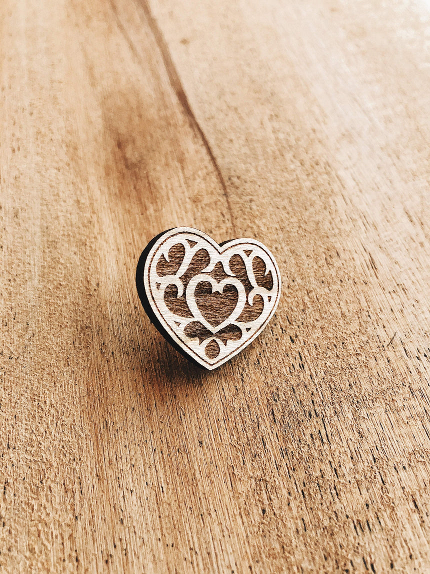 Jake Mize Heart Container Wooden Pin