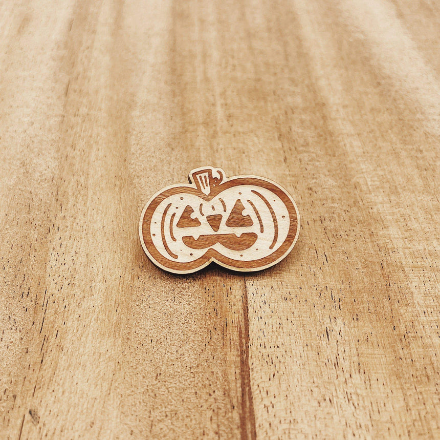 Jake Mize Jack-o'-lantern Wood Pin
