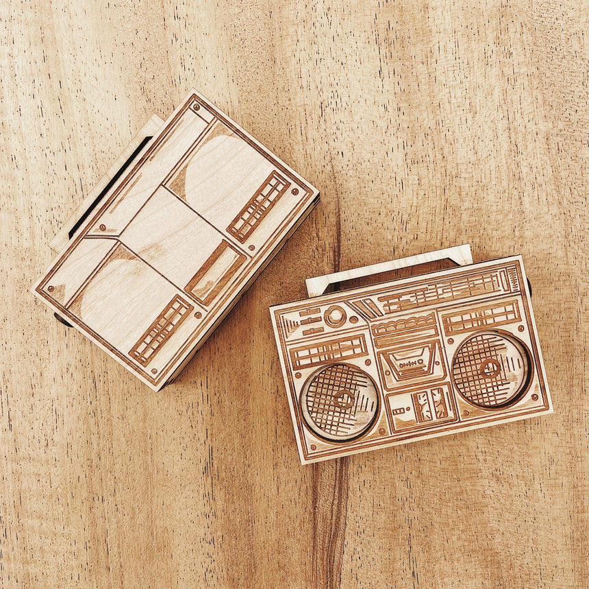 Jake Mize Miniature Wood Boombox