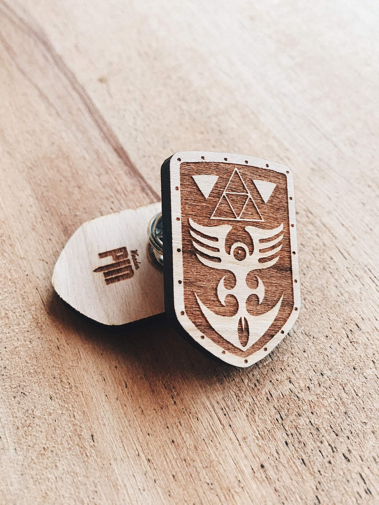 Jake Mize Red Shield Wooden Pin
