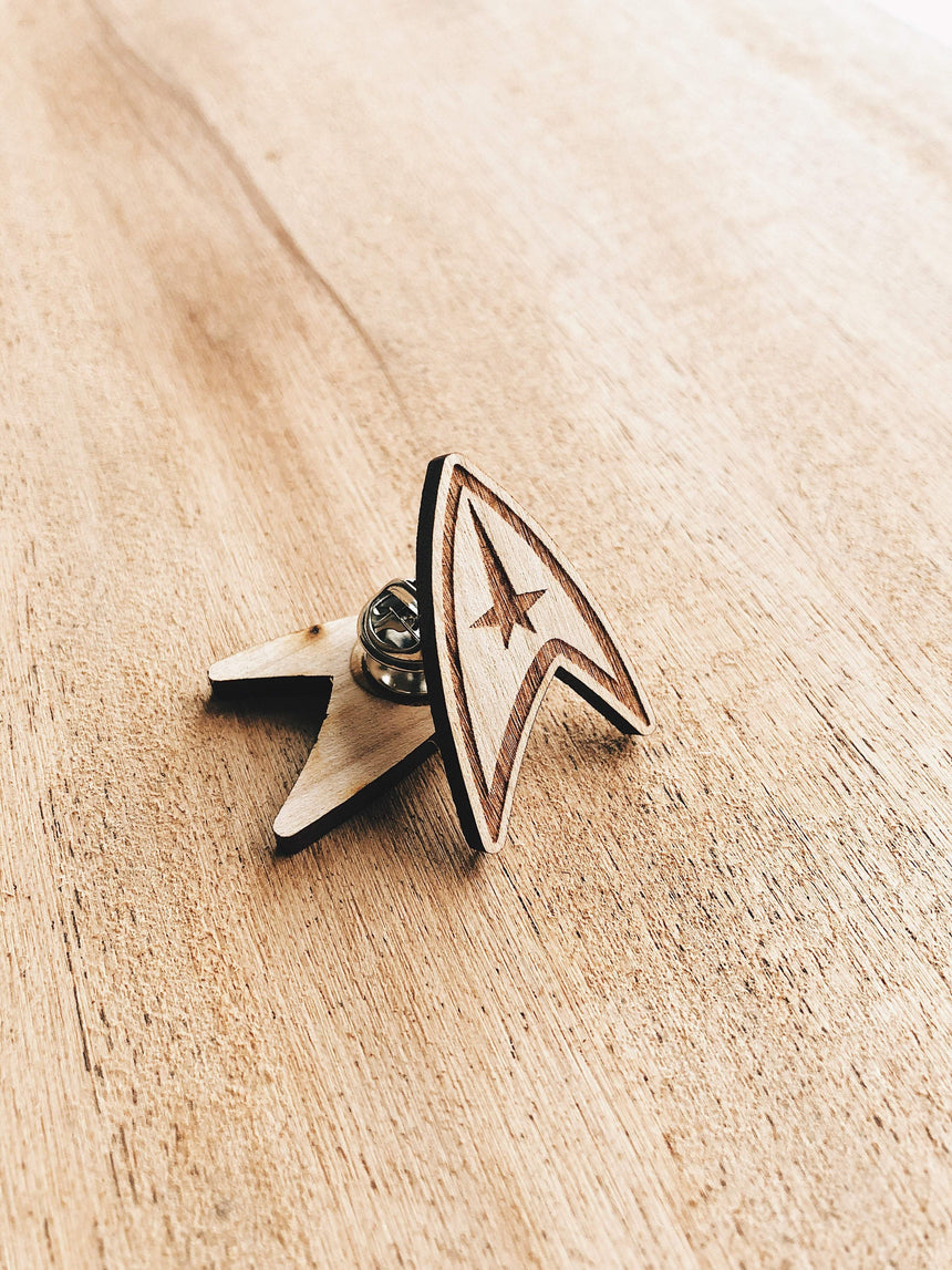 Jake Mize Star Trek Commander Insignia Wooden Pin