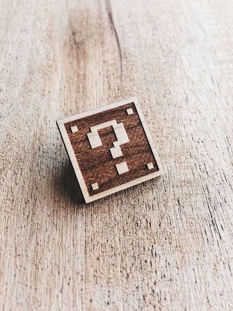 Jake Mize Super Mario Mystery Block Wooden Pin