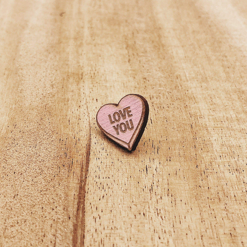Valentine Candy Heart Wooden Pin Set