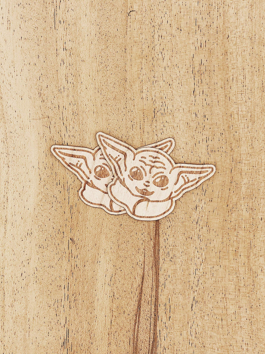 Baby Yoda Profile Wooden Sticker Pack