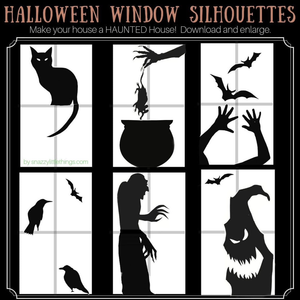 photo regarding Witch Silhouette Printable identified as Halloween Window Silhouettes Free of charge Obtain