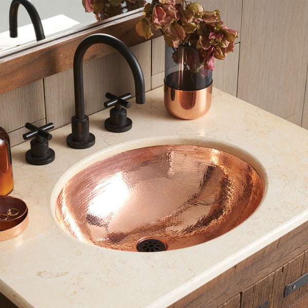 Hammered Copper Bathroom Sinks from Mexico