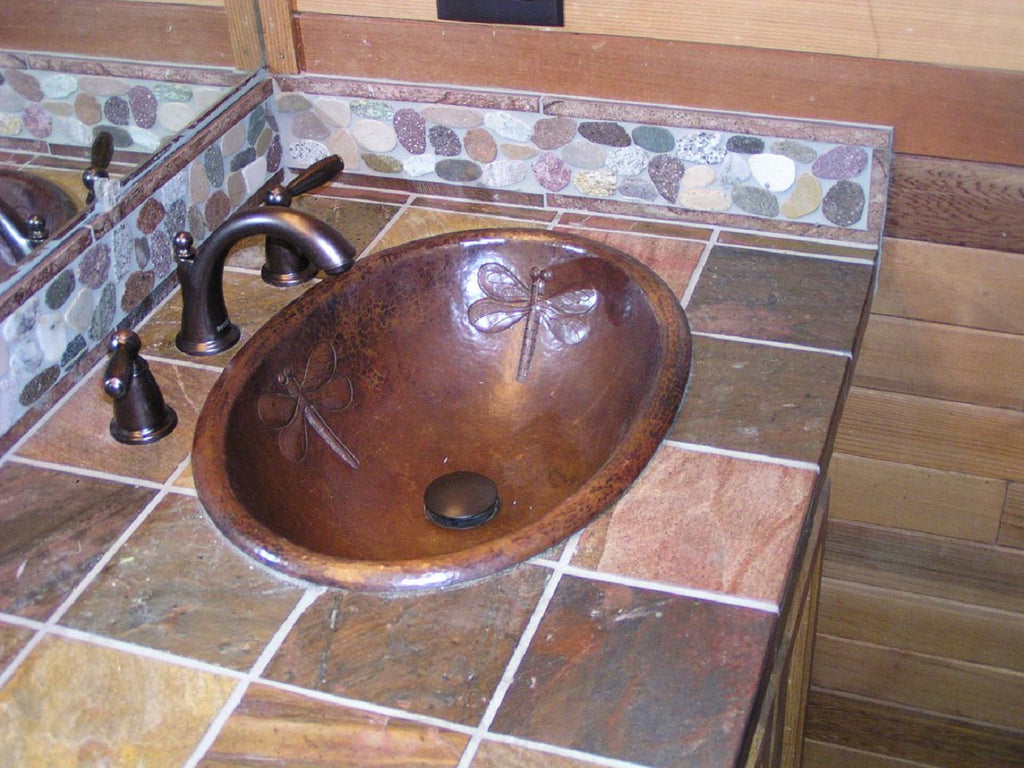 Copper Bathroom Sink with Dragon Fly design