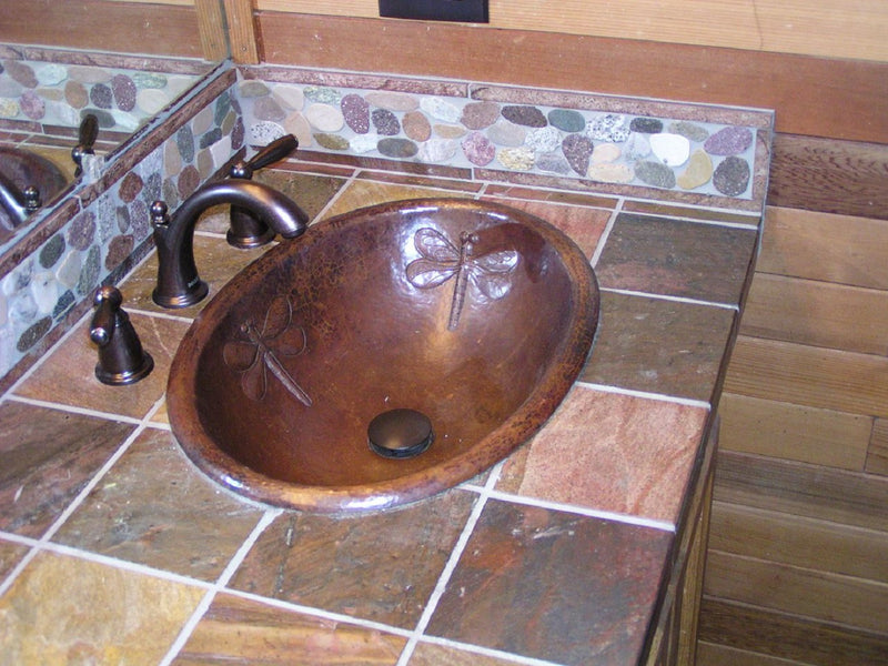 Copper Bathroom Sink with a Dragon Fly