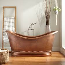 Freestanding Copper Tub with Decorative Base