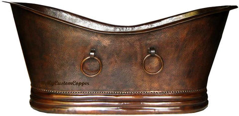 copper bathtub with rings