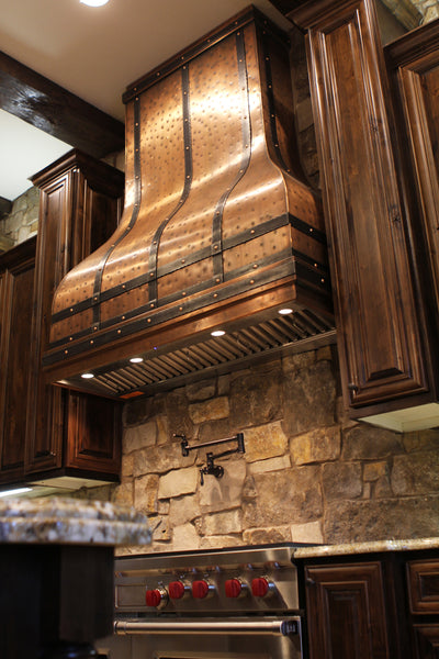wall mount copper stove hood with hammered metal