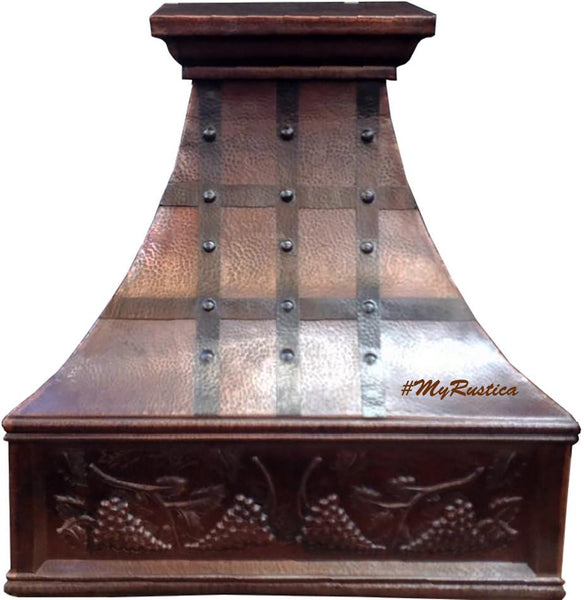 copper range hood with iron straps