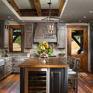 custom made copper sink in a rustic style kitchen