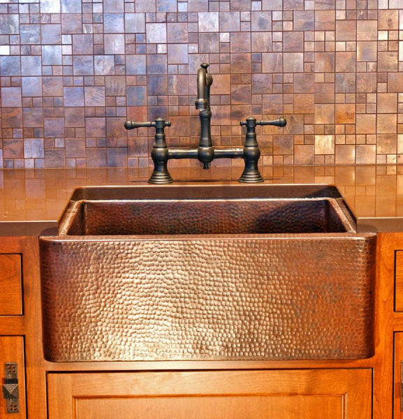 custom small copper kitchen sink
