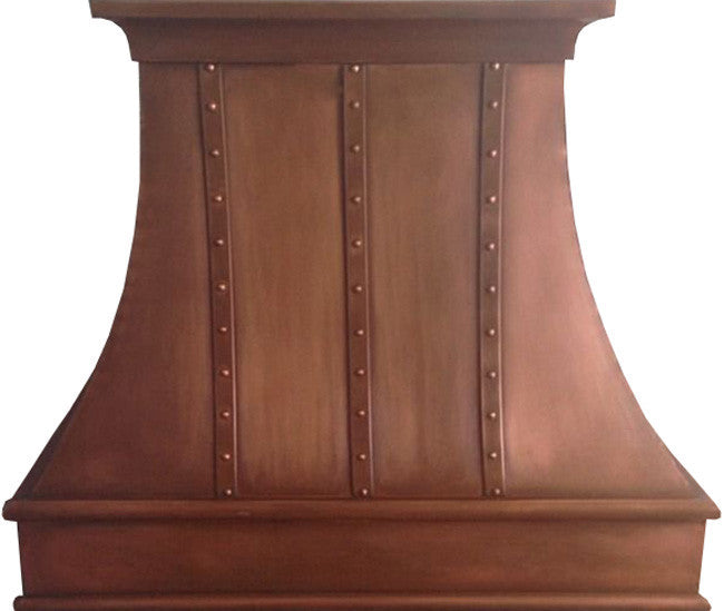 designer copper cook-top hood