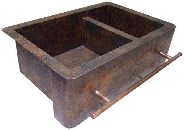 hand fabricated vintage apron copper kitchen sink